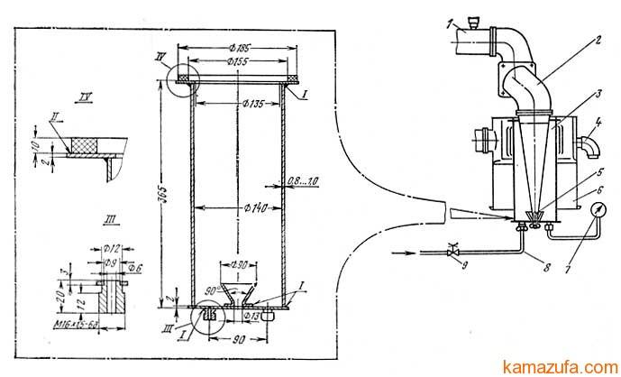 Схема установки для проверки герметичности впускного тракта